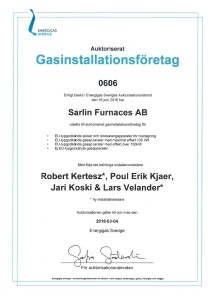 Auktorisation Nordic Furnaces AB 2016-06-16